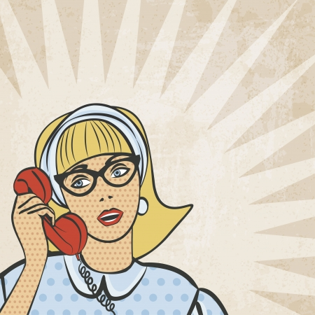 happy phone: girl with telephone in retro style - vector illustration