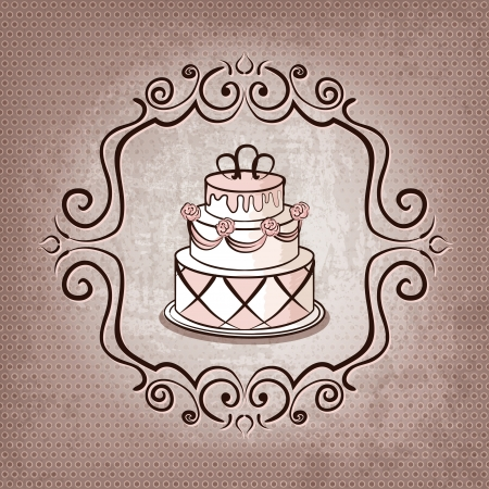 wedding cake: cake on polka dot background - vector illustration Illustration