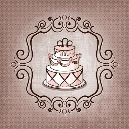 cake on polka dot background - vector illustration Illustration