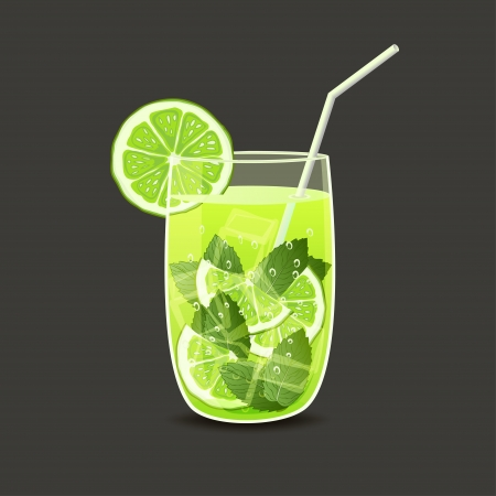 mojito: drink in glass with straw - vector illustration