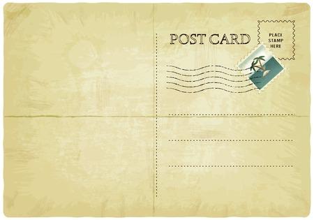 old postcard: backside of old postcard with mark - vector illustration