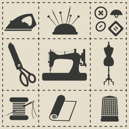 sewing icons - vector illustration Vector