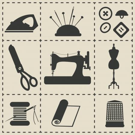 Iconos de coser - ilustración vectorial