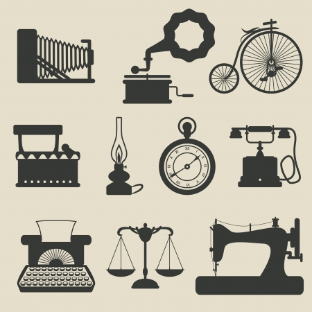 maquinas de coser: iconos retro - ilustración vectorial Vectores