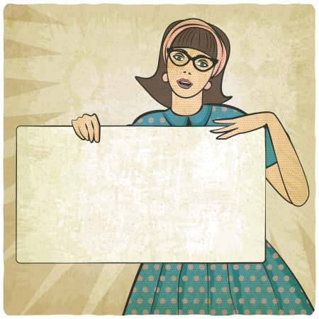 strong message: girl with banner in retro style - vector illustration