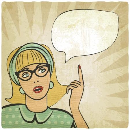 fille avec la main levée dans le style rétro - illustration vectorielle