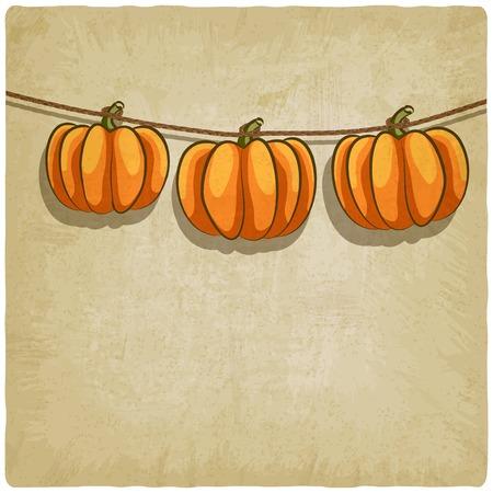 old background with pumpkins on rope - vector illustration Illustration
