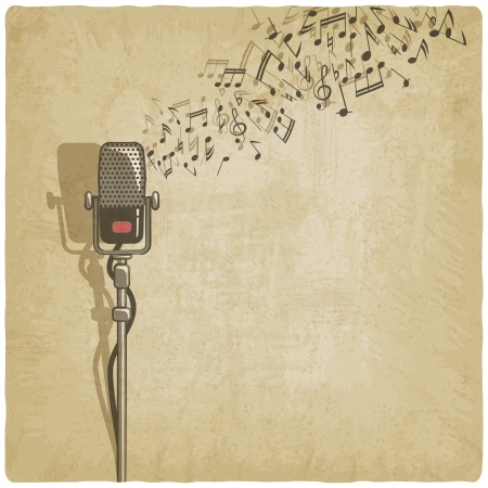 Vintage background with microphone - vector illustration