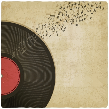 Vintage background with vinyl record - vector illustration Vector