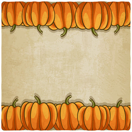 old background with pumpkins - vector illustration
