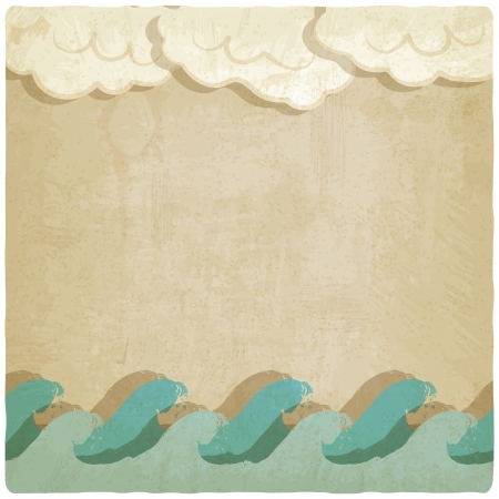 Vintage background with waves and clouds - vector illustration