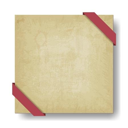corner tab: old paper background with red ribbon - vector illustration Illustration