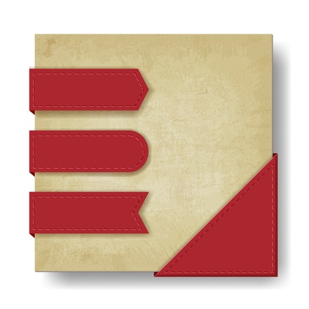 corner tab: old paper background with red ribbons and corner - vector illustration