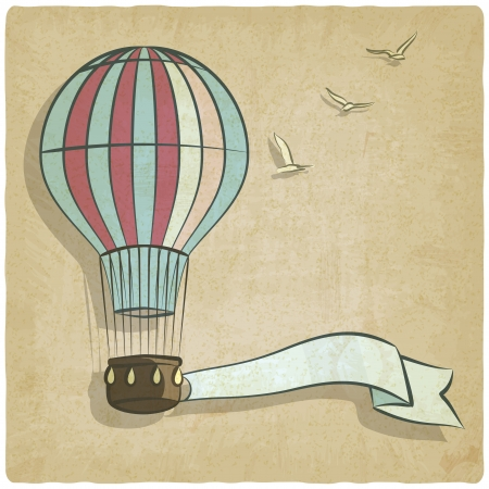 aerostat: retro background with aerostat - vector illustration Illustration