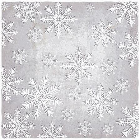 La cosecha de fondo con copos de nieve de papel recortado - ilustración vectorial