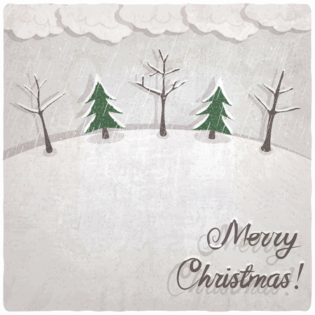 snowcovered: Christmas background with snow-covered trees - vector illustration