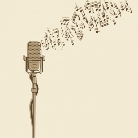 radio microphone: retro background with microphone - vector illustration