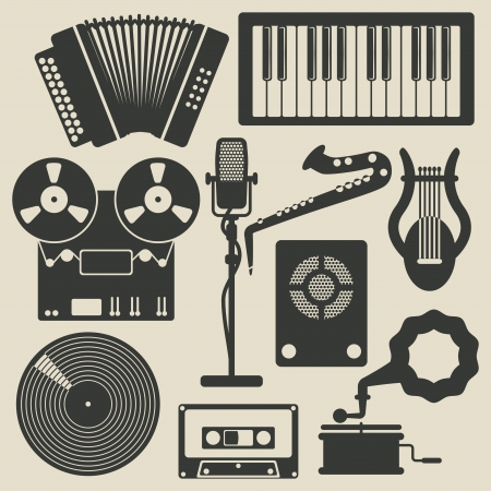 music icons - vector illustration