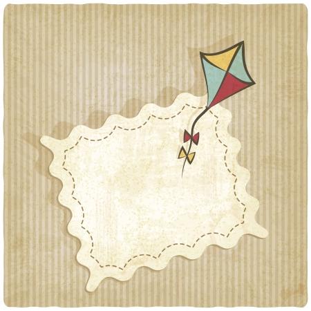 retro background with kite - vector illustration
