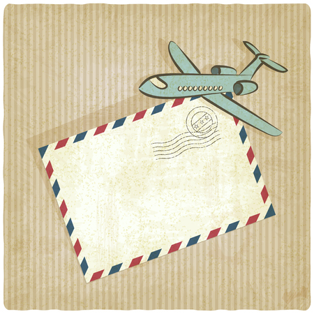 airmail: retro background with plane - vector illustration Illustration