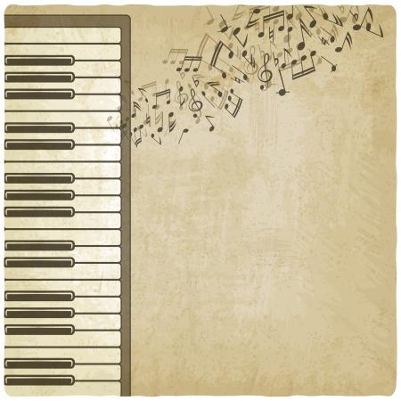 ベクトル イラスト - ピアノとビンテージ背景