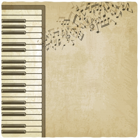 instrumental: Vintage background with piano - vector illustration