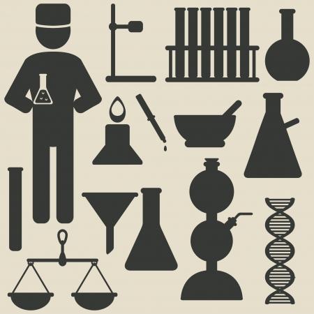 funnel: chemistry icons - vector illustration Illustration