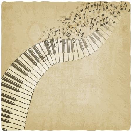 klavier: Vintage Hintergrund mit Klavier - Vektor-Illustration
