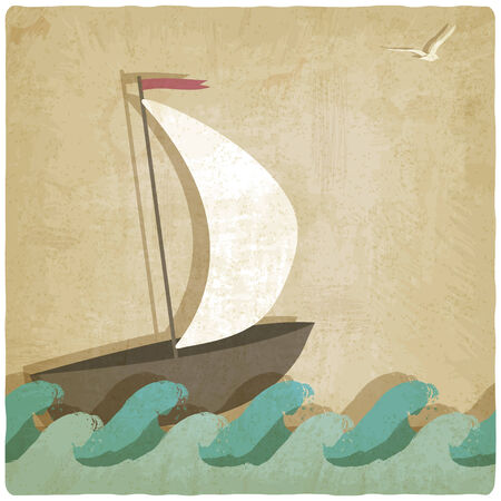 gull: Vintage marine with sailboat on waves- vector illustration Illustration
