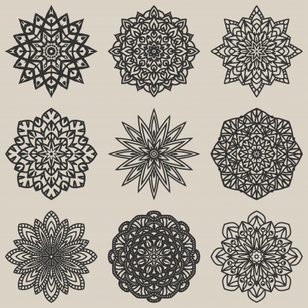 circular floral pattern set - vector illustration Vector