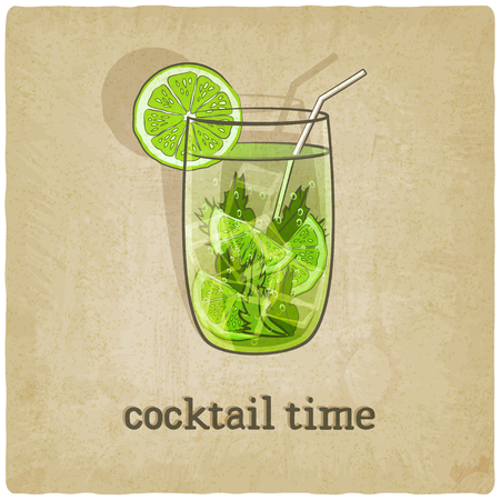 mohito: old background with cocktail - vector illustration