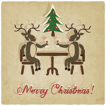 Christmas background with deers - vector illustration Vector