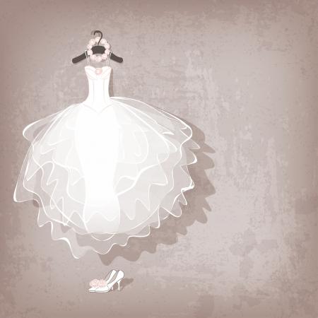 벡터 일러스트 레이 션 - 지저분한 배경에 웨딩 드레스