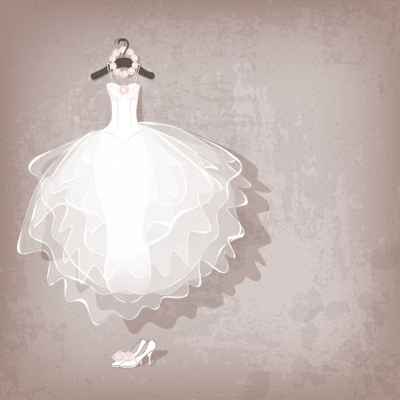 beautiful bride: wedding dress on grungy background - vector illustration