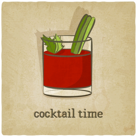 tomato cocktail: old background with cocktail - vector illustration