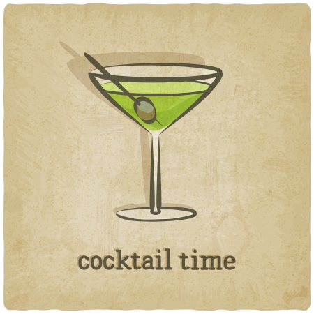 old background with cocktail - vector illustration
