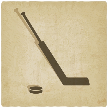 sport hockey with vintage background - vector illustration Vector