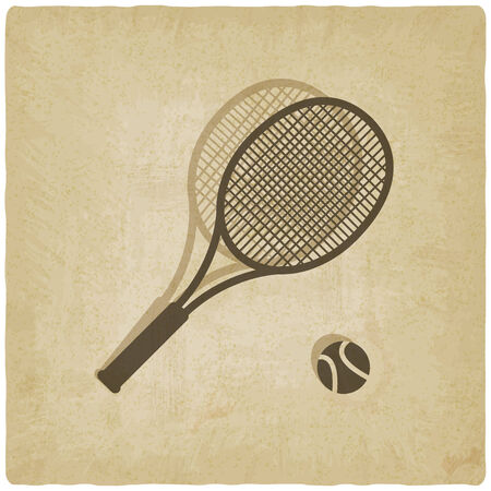 sport tennis with vintage background - vector illustration Stock Vector - 24904419