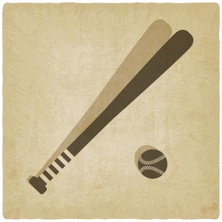 sport baseball with vintage background - vector illustration