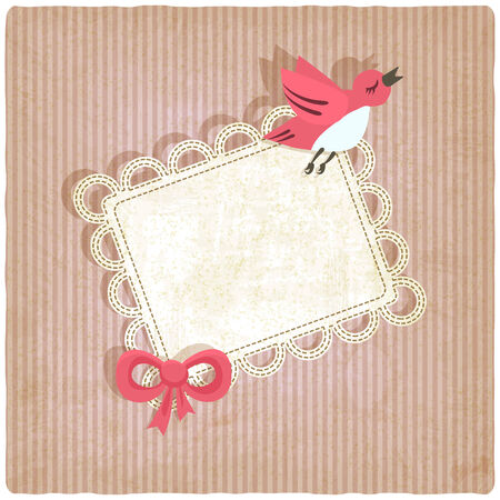 pink retro background with bird - vector illustration Vector