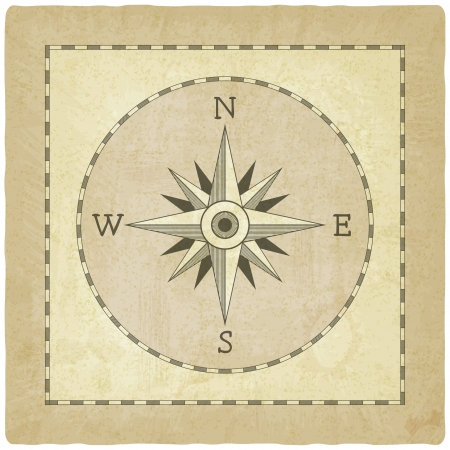 Wind rose on old background - vector illustration Vector