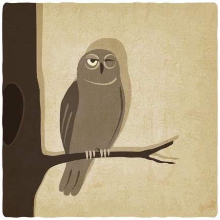 owl on branch old background - vector illustration Illustration