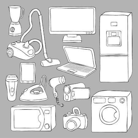 mobile home: home appliances and electronics icons - vector illustration