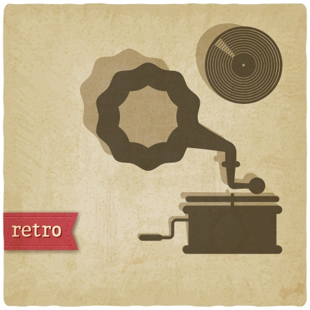 old with gramophone and record - vector illustration Illustration