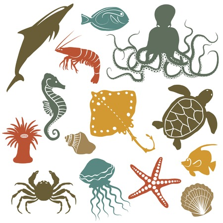 sea animals and fish icons - vector illustration Çizim