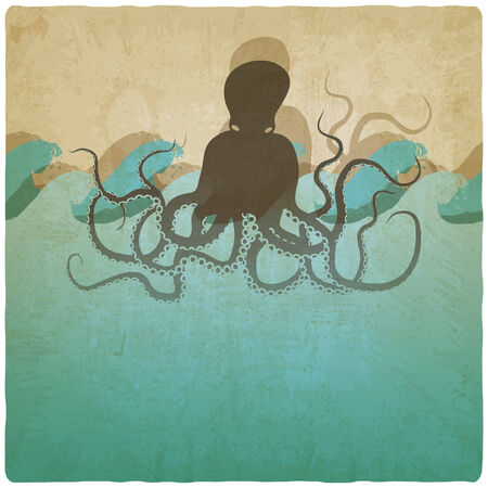 Vintage marine background with octopus - vector illustration Vector