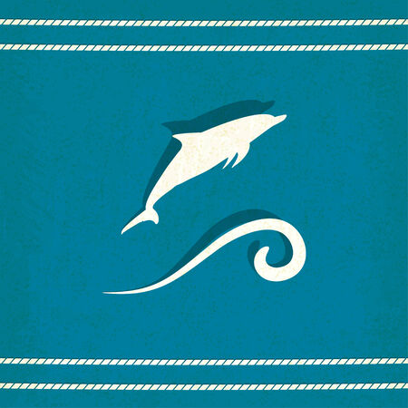 dolphin marine old background - vector illustration Vector