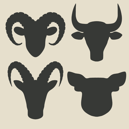 farm animals head icons Vector