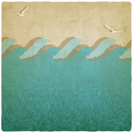 Vintage marine underwater background illustration Vector