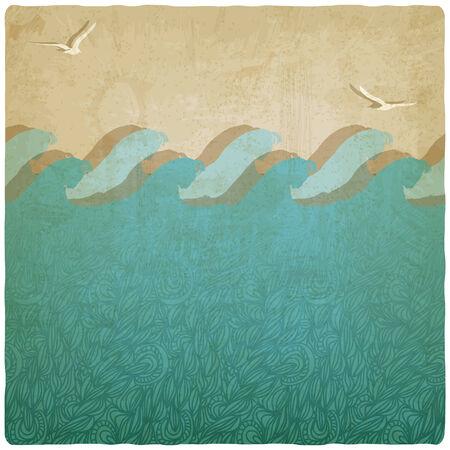 Vintage marine underwater background illustration